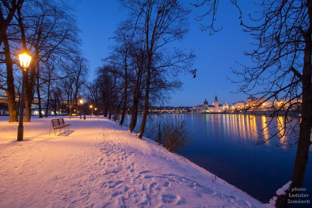Ostrov Štvanice se sněhem