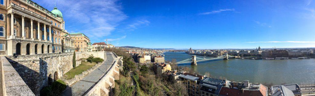 Budapešť - výhled na Řetězový most z Hradního vrchu