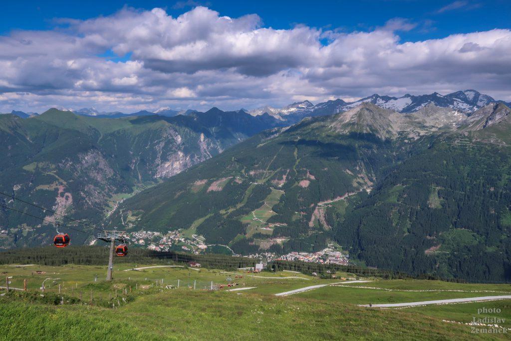 lanovka na stubnerkogel a výhled na Bad Gastein