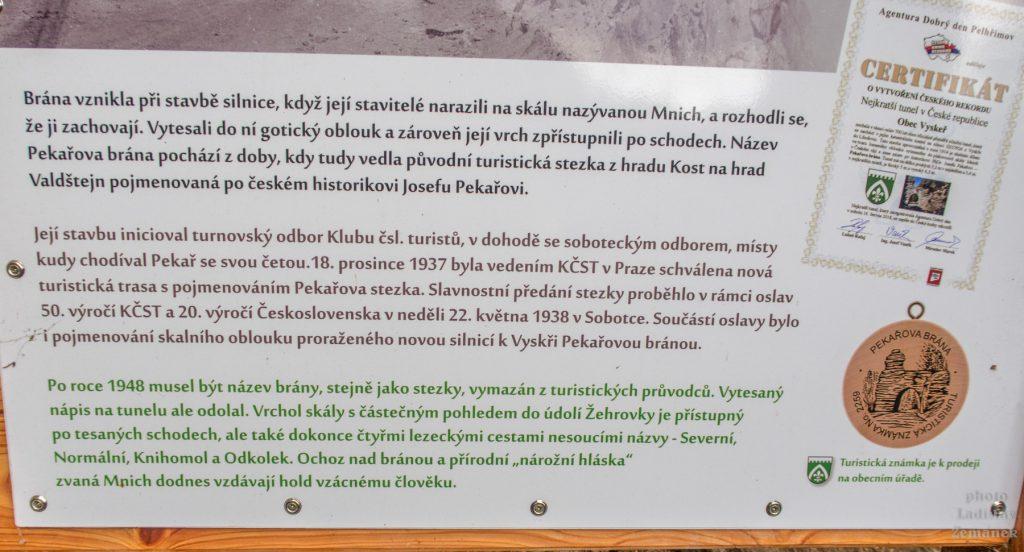 Pekařova brána - nejkratší tunel v ČR