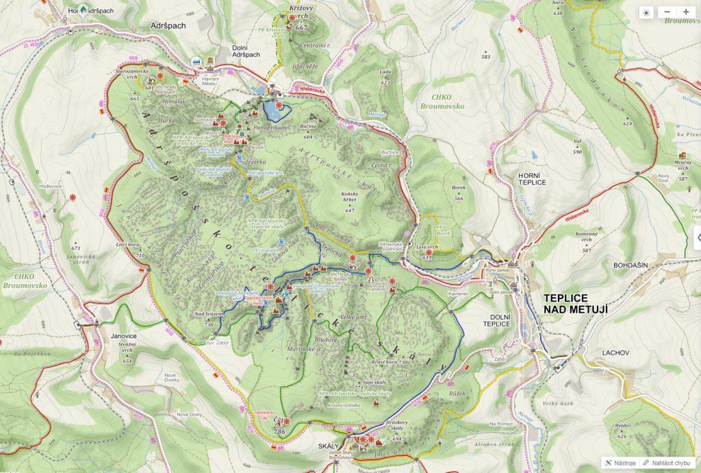 Adršpašsko-teplické skály-mapa