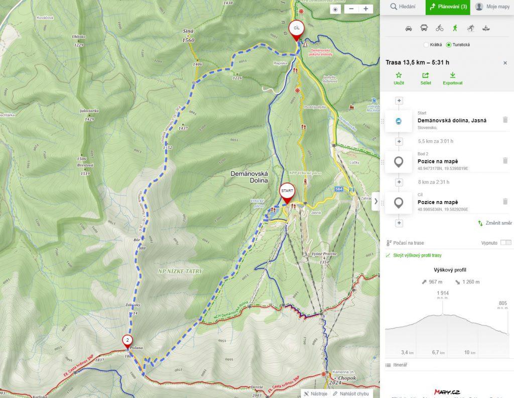 demanovska dolina - hřeben - mapa
