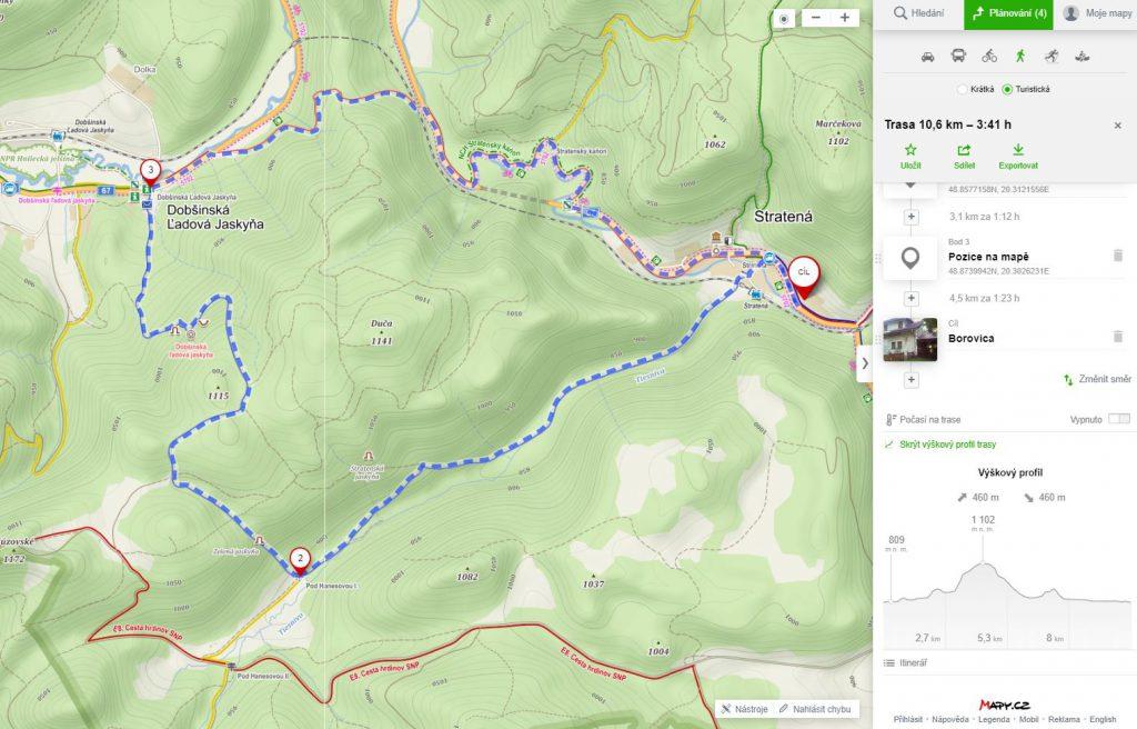 výlet - dobšinská ľadová jaskyňa- mapa