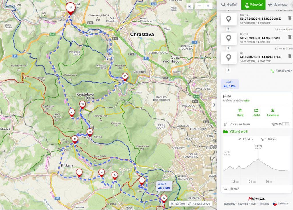 mapa - Kryštofovo údolí a Ještěd