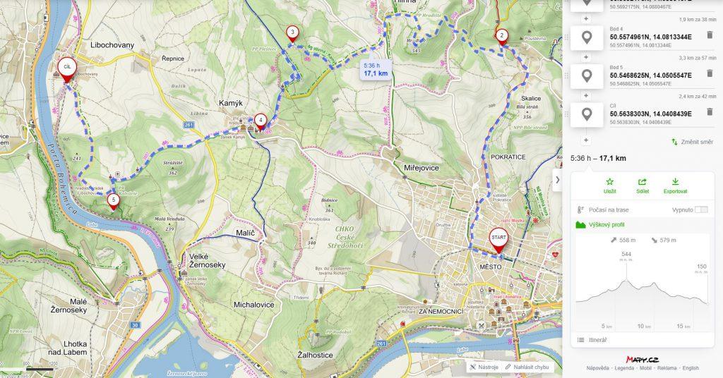 Výlet - litoměřice - Plešivec - Kamýk - Porta Bohemica - mapa