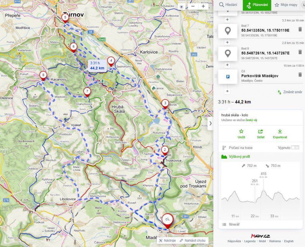 Český ráj na kole - mapa