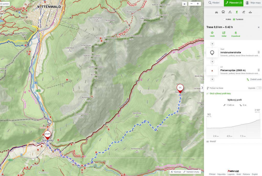 Túra ze Scharnitz na Pleisenspitze - mapa