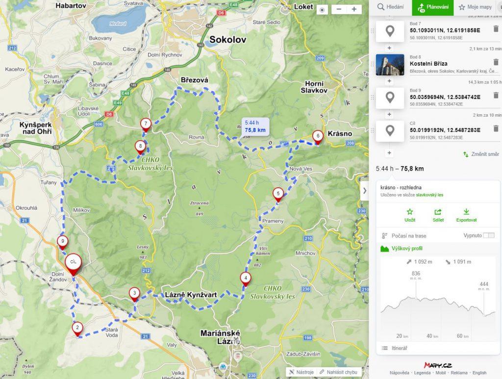 mapa - slavkovský les