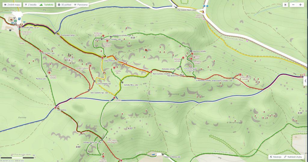 prachovské skály - mapa