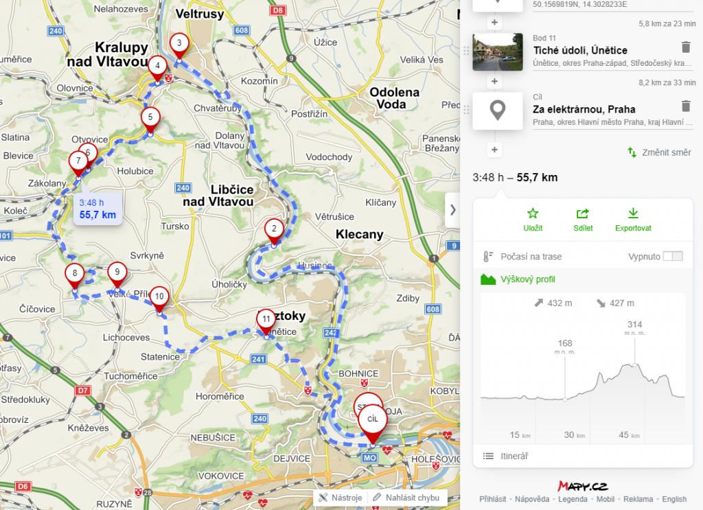 Praha-Okoř na kole - mapa