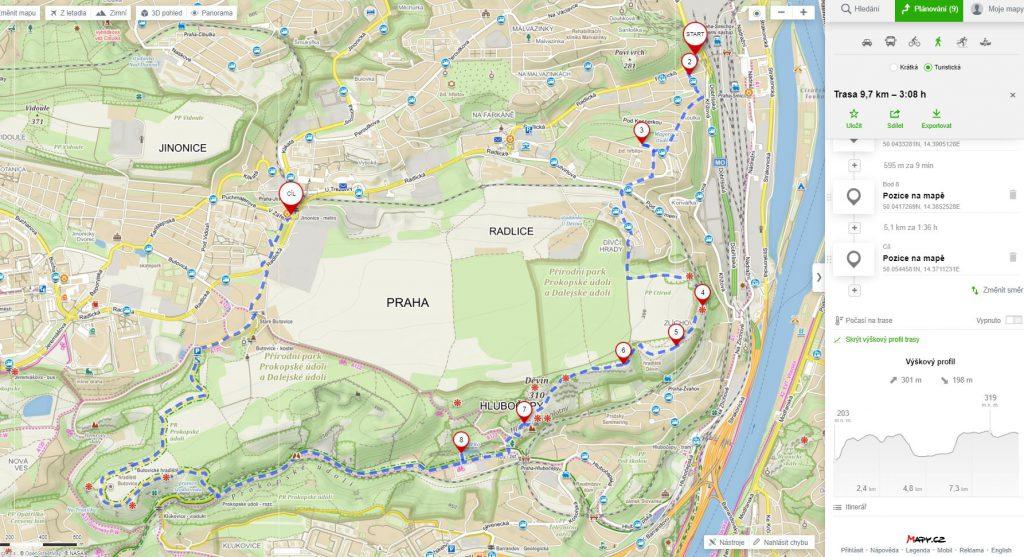 prokopské údolí-mapa
