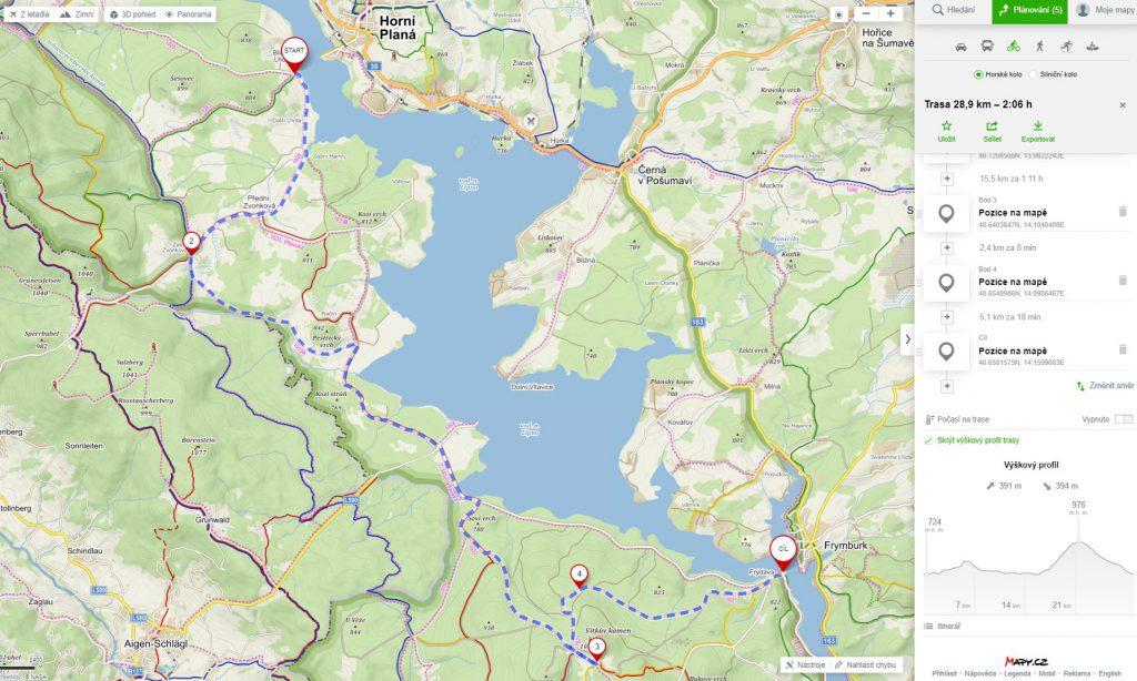 schwarzenberský kanál a vítkův kámen-mapa