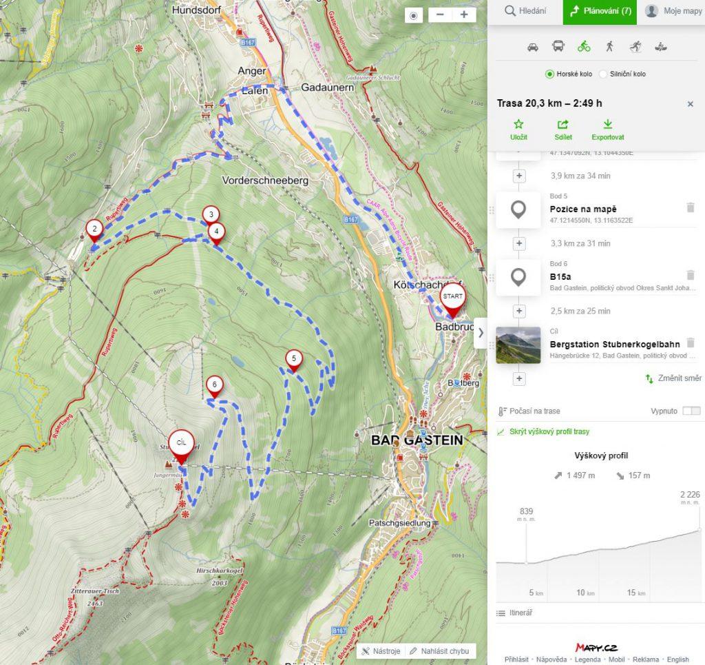 na kole na stubnerkogel a glocknerblick - mapa