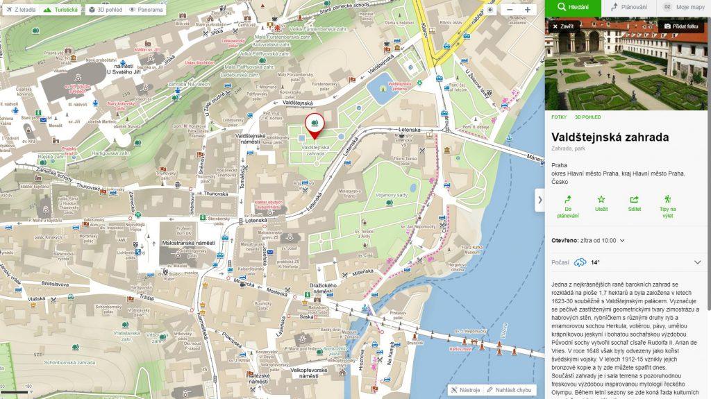 Valdštejnská zahrada mapa