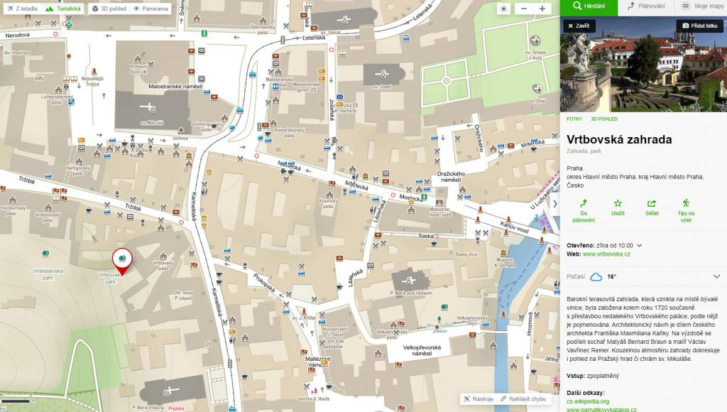 Vrtbovská zahrada - mapa