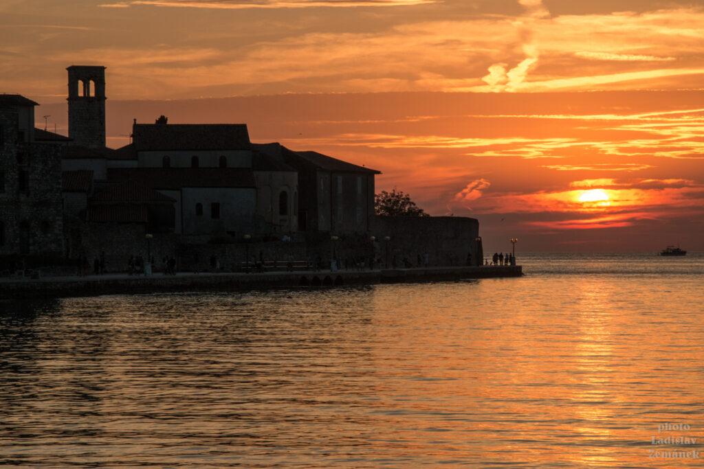Poreč - západ slunce nad centrem města