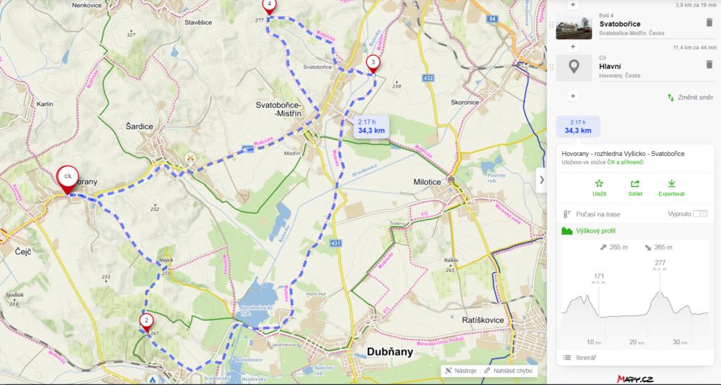mapa - rozhledna Vyšicko a Mutěnka