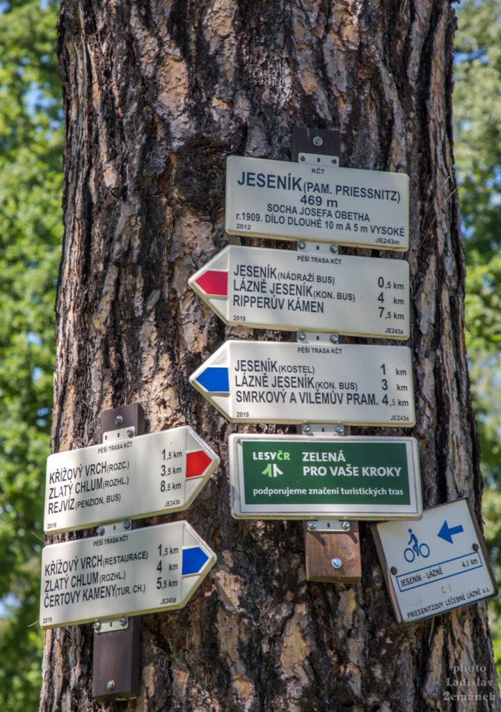 Jeseník - rozcestí u Priessnitzova památníku