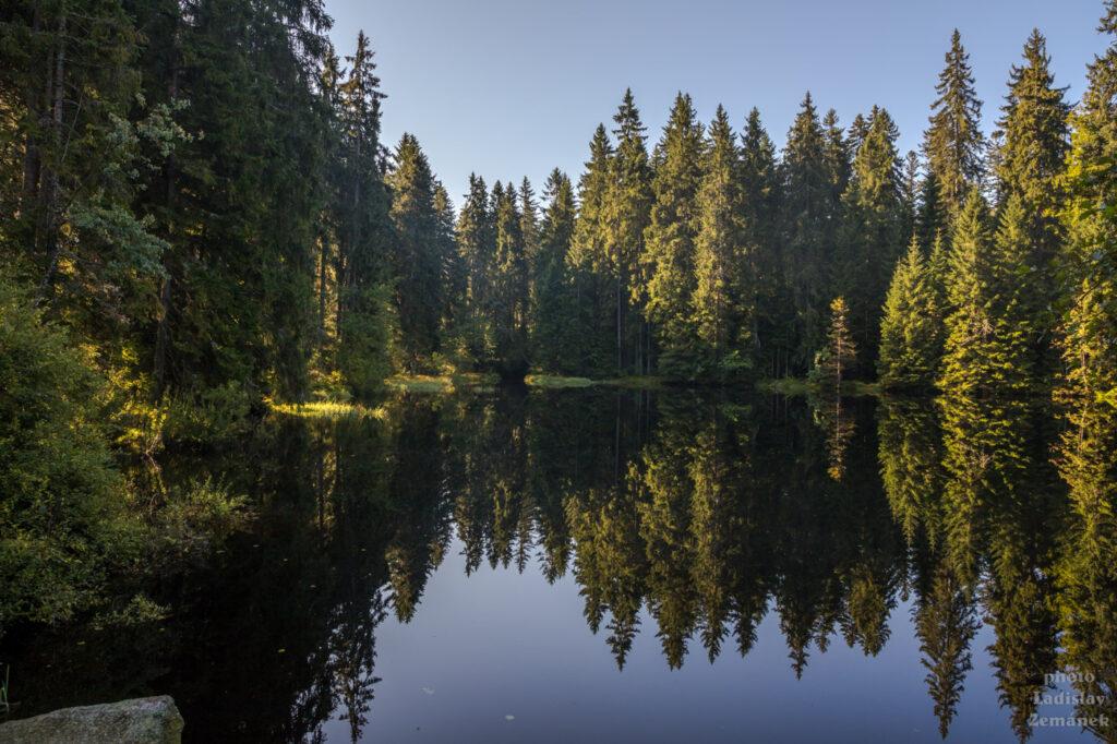 Lesní jezírko cestou na Třístoličník