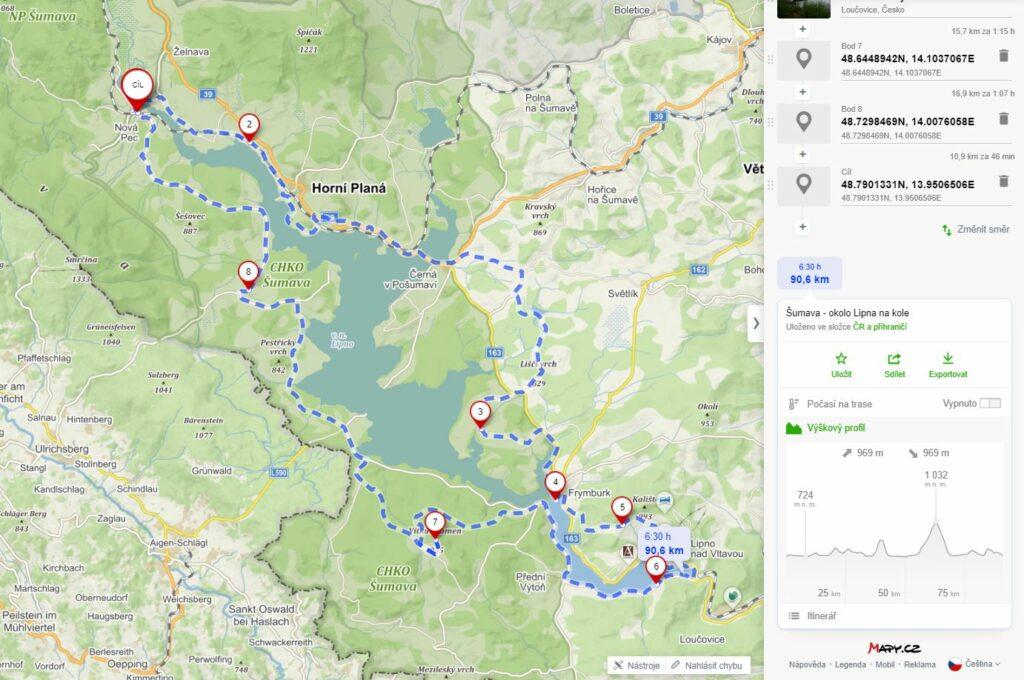 mapa - okolo lipna za 1 den