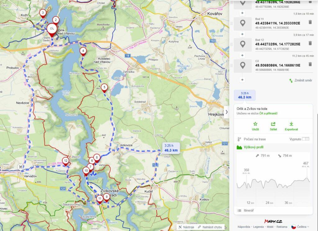 Mapa - Orlík a Zvíkov na kole